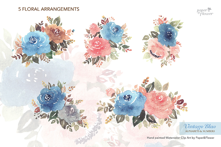 Vintage Blue Floral Watercolor Alphabet Set example image 6