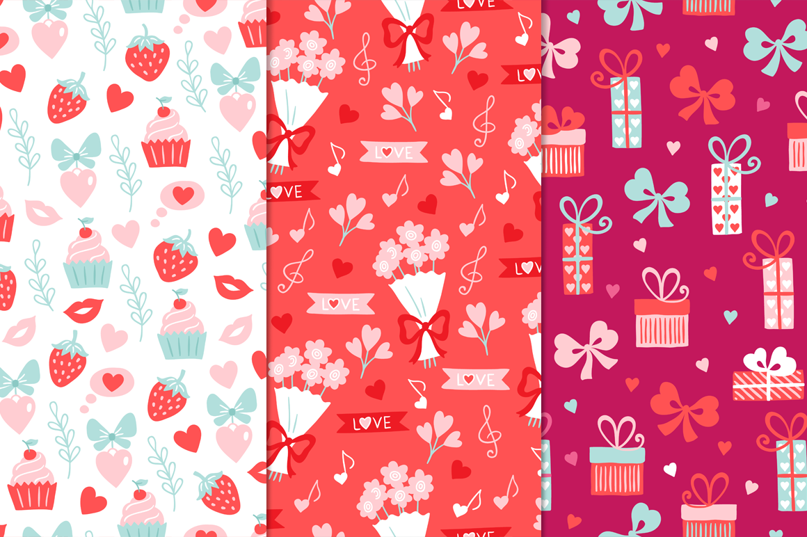 12 Valentine Seamless Patterns example image 2