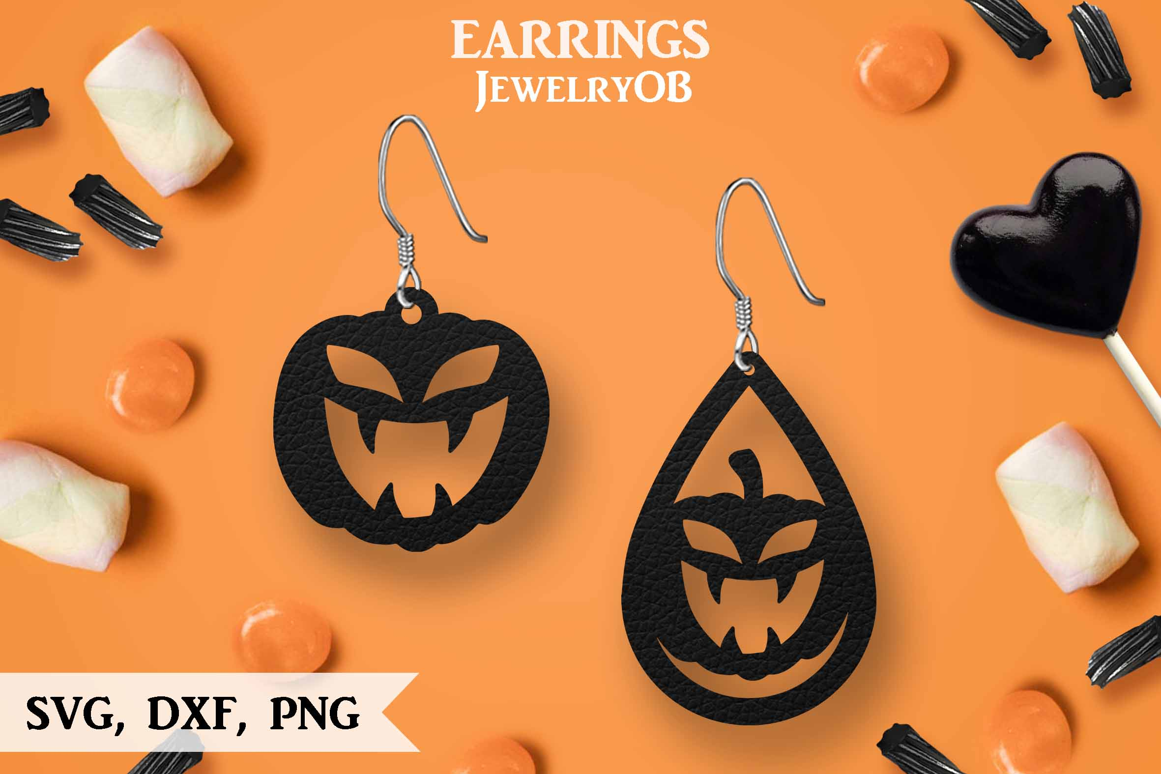 Halloween Earrings, Cut File, SVG DXF PNG Formats, Pumpkin example image 1