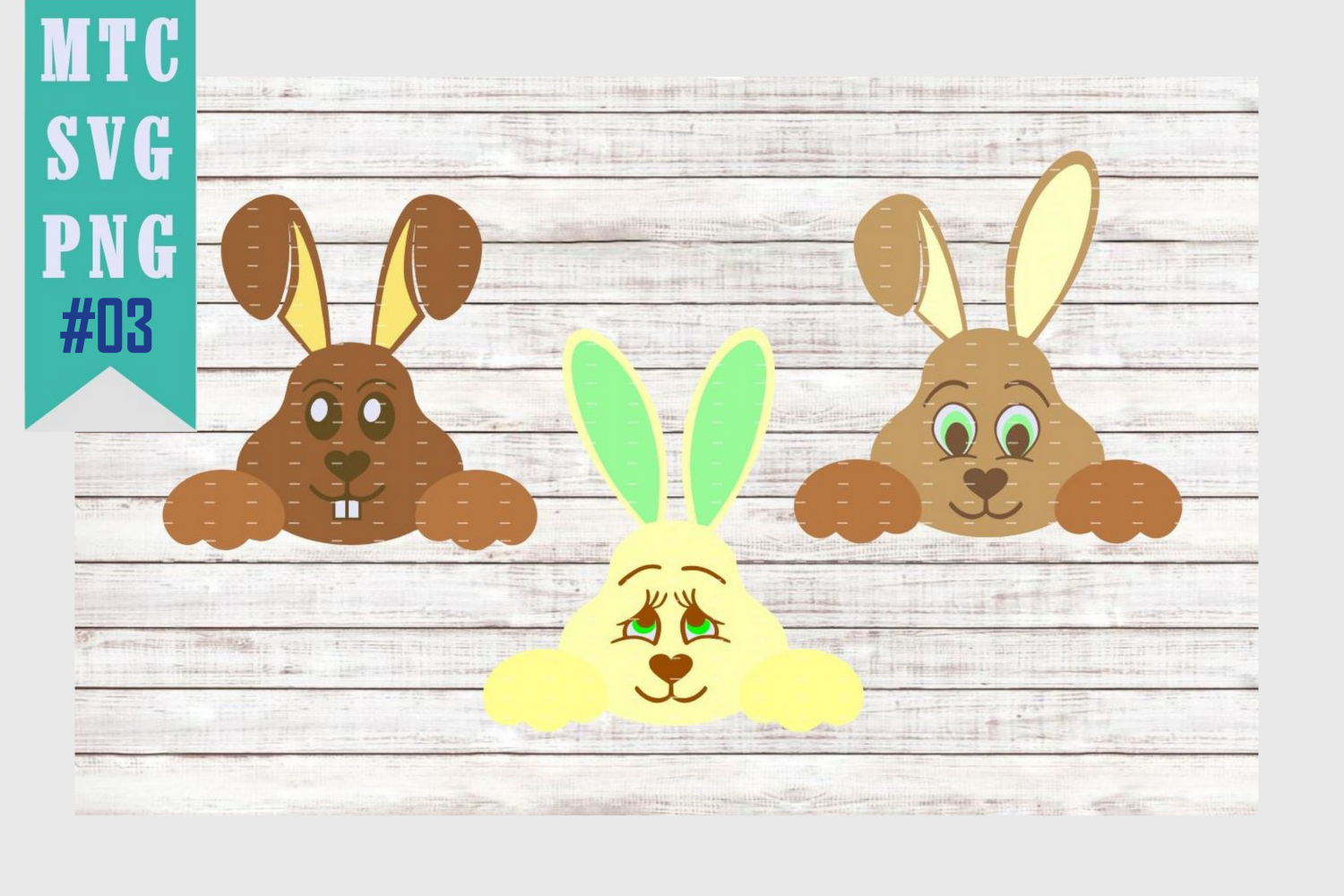 Peeping Easter Bunny Set #3 with Sayings Set #1 SVG Cut File example image 2