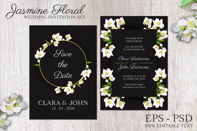 Jasmine floral wedding invitation set example image 2