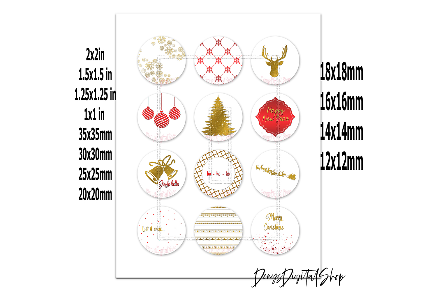 New Year Digital Colllge Sheet,Pendants Images,Cabochons example image 2
