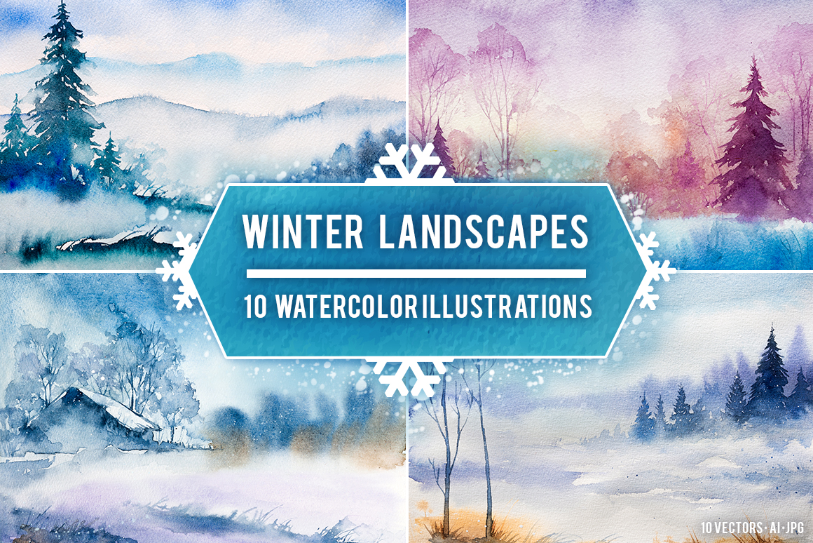 Winter Landscapes set#3. Watercolor. example image 1