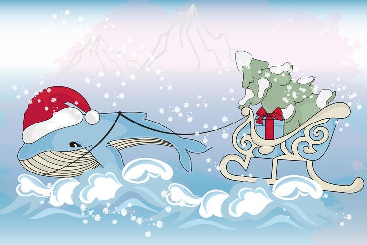 CHRISTMAS MERMAID Vector Illustration Set example image 6
