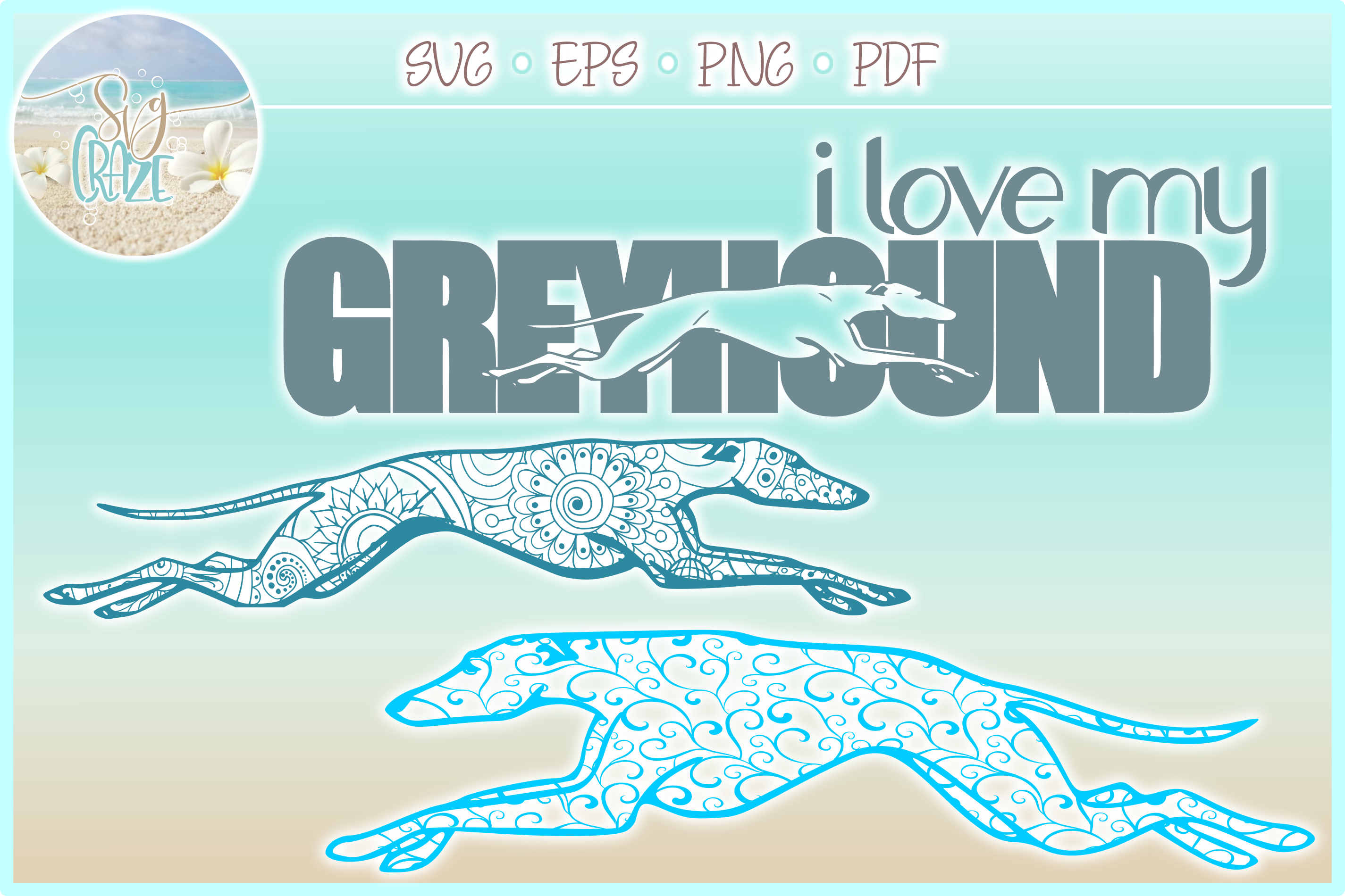 Greyhound Mandala Zentangle Bundle SVG Eps Png PDF example image 4