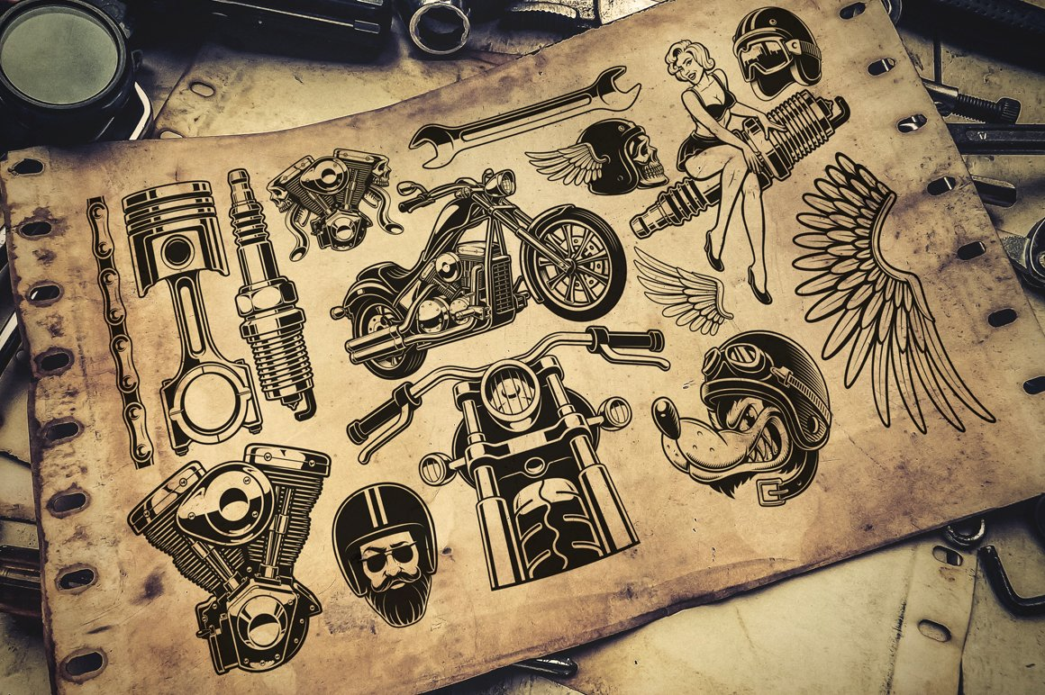 Motorcycle vector design set #1 example image 4
