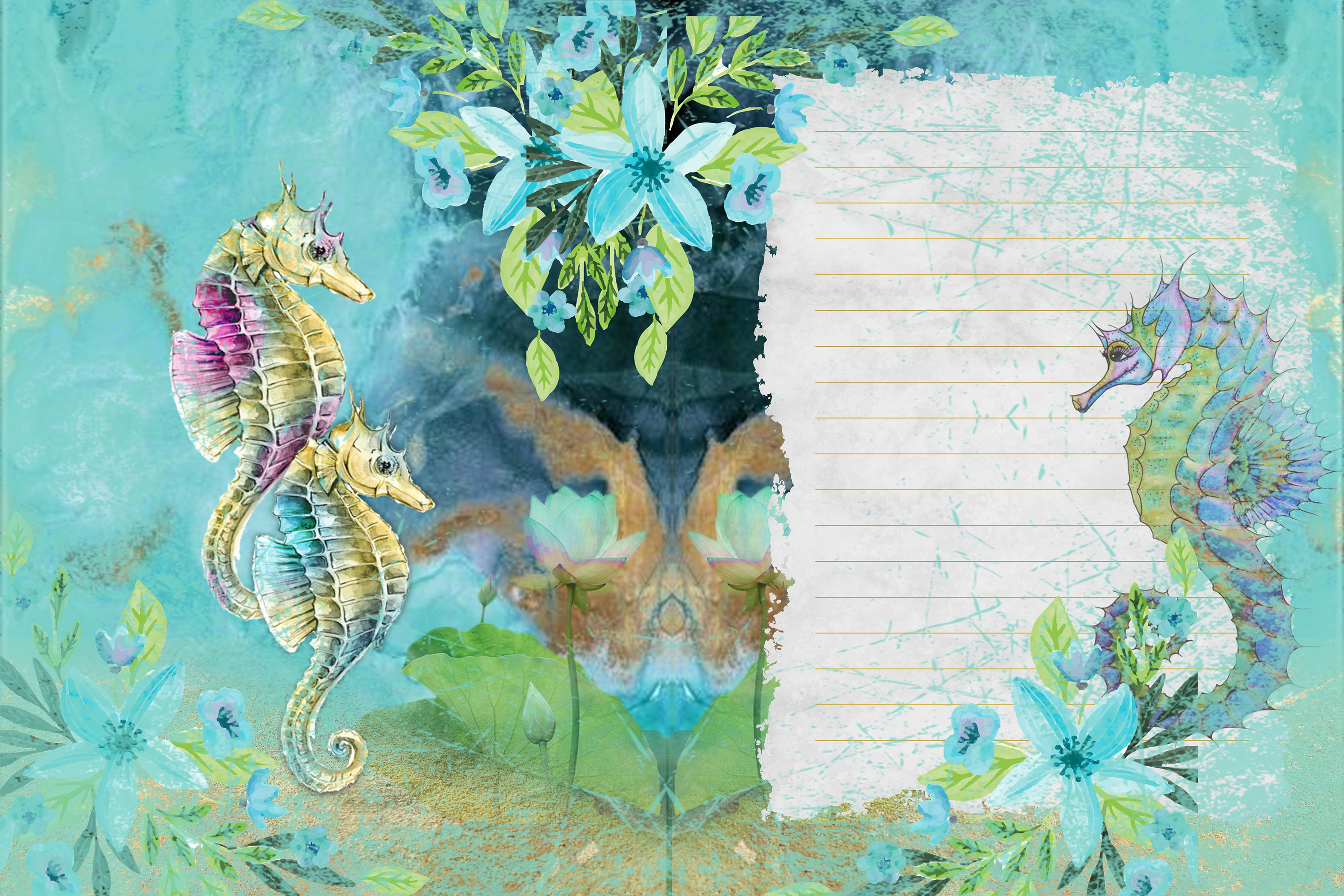 Seahorses Journaling pages FREE Clipart and Ephemera example image 2