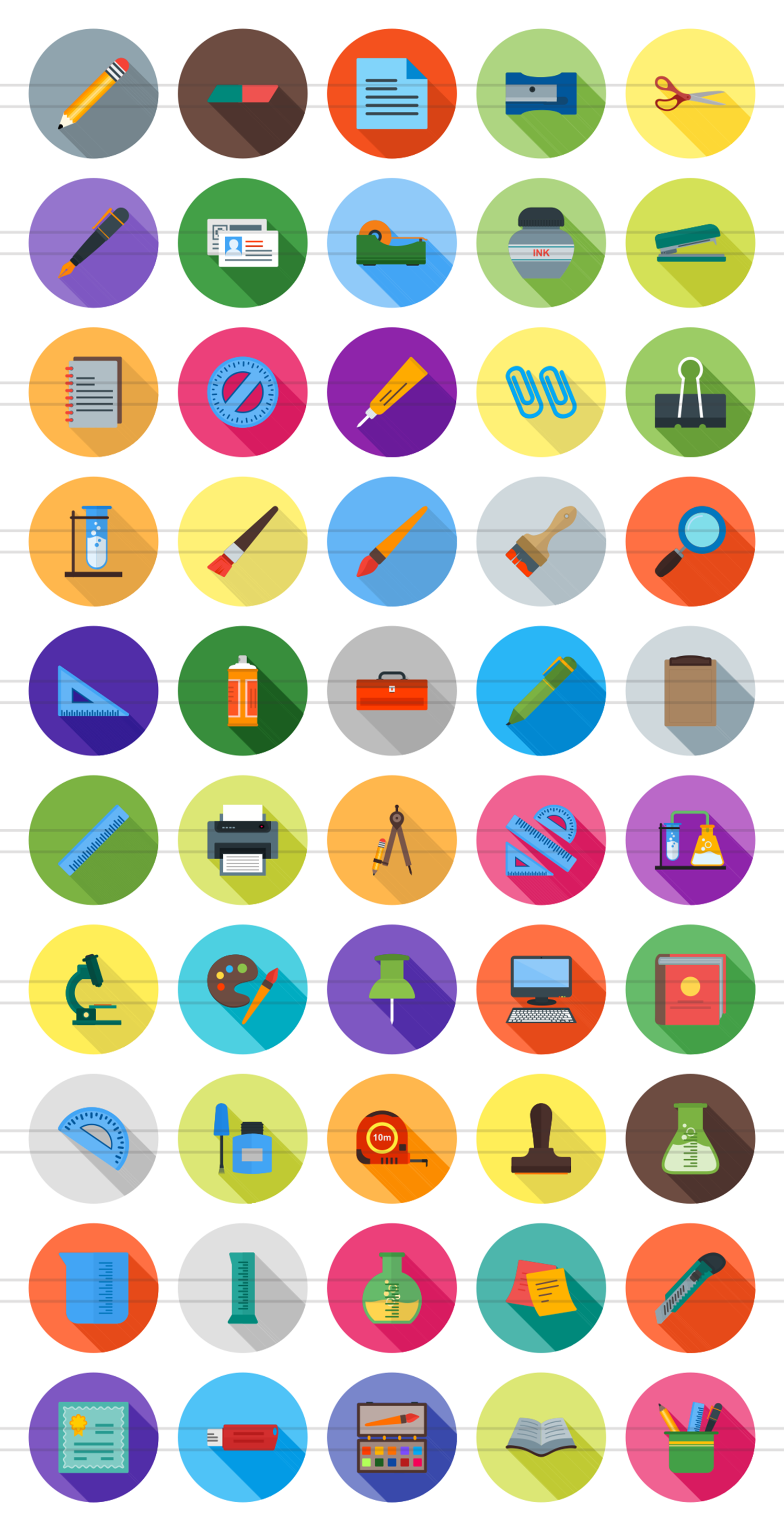 50 Stationery Flat Long Shadow Icons example image 2