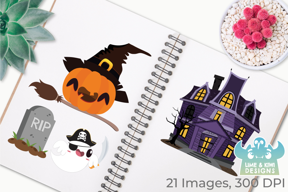 Halloween Pumpkins and Ghosts Clipart, Instant Download example image 3