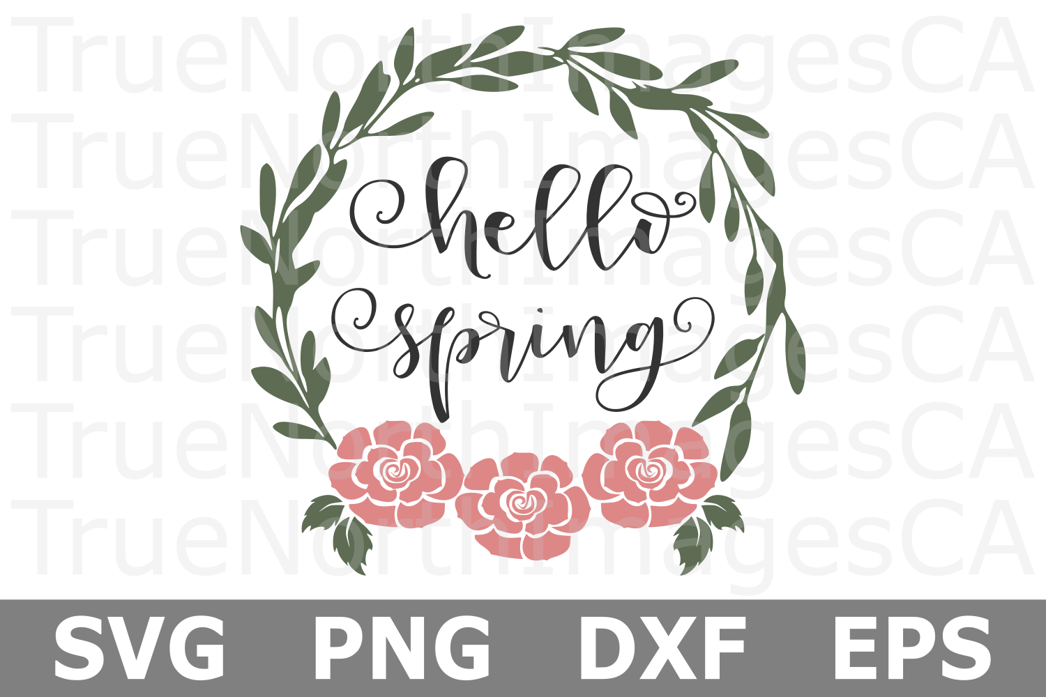 Hello Spring - A Wreath SVG Cut File example image 2