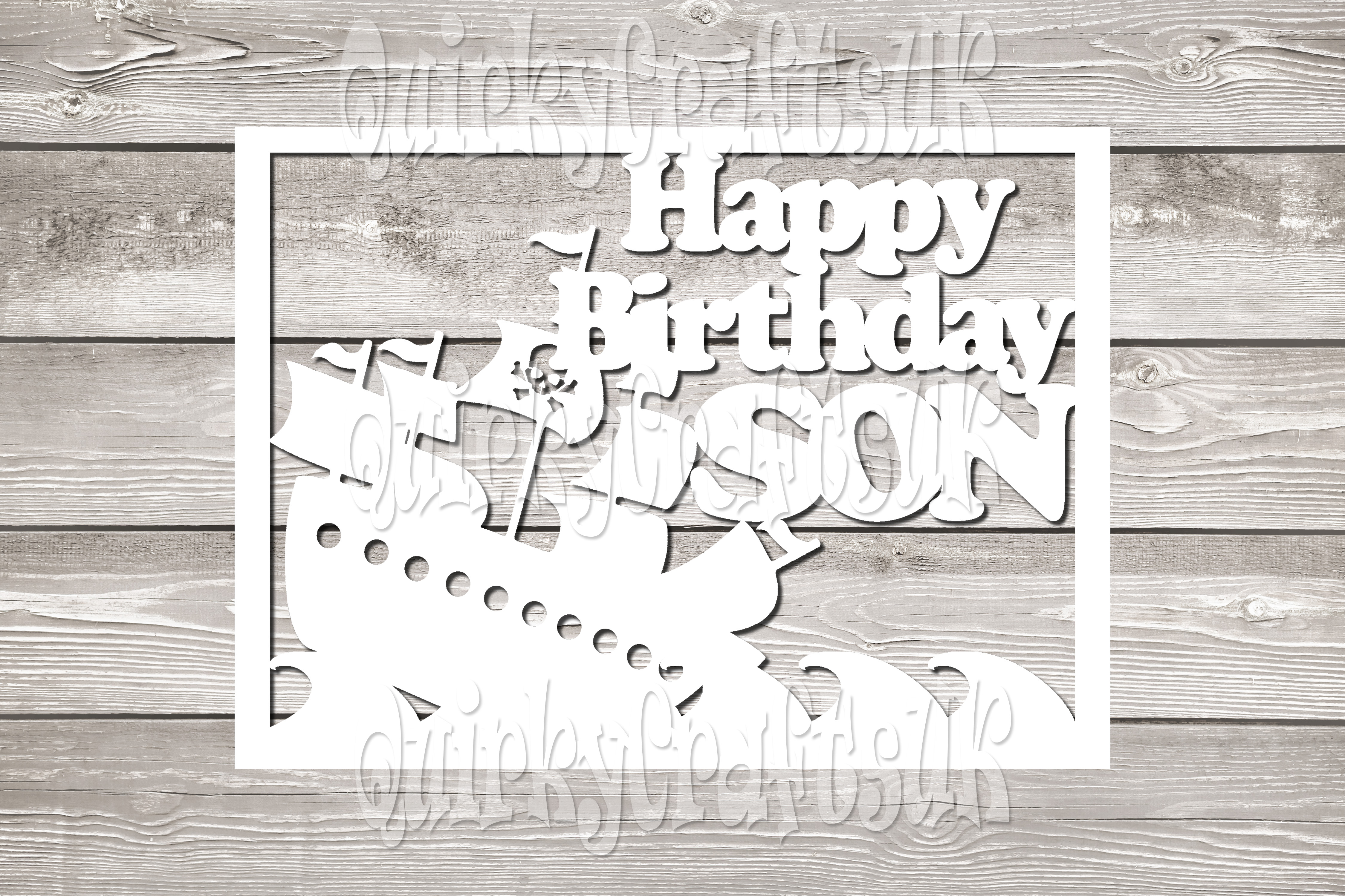 Happy birthday Pirate Ship/SON papercutting templates|PNG/PD example image 2