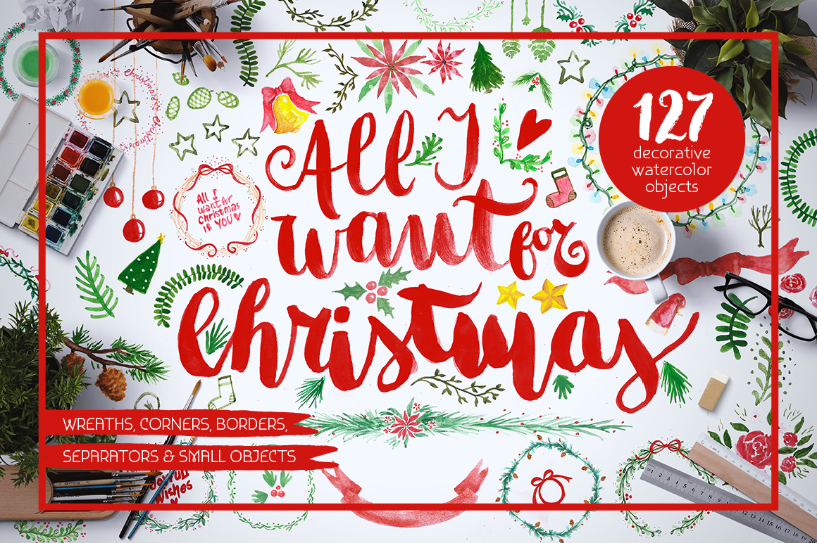 All I Want 4 Christmas Graphics Pack example image 1