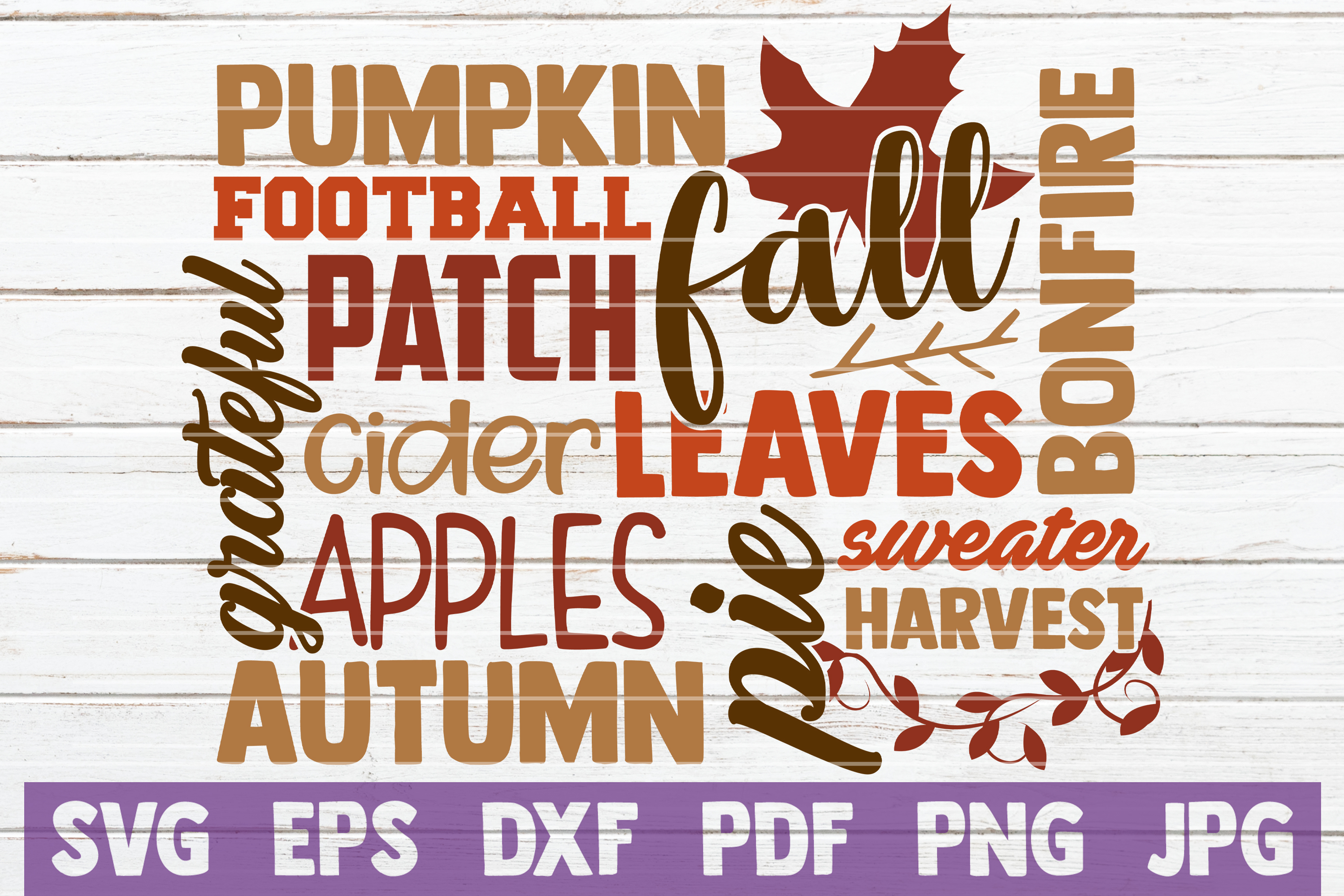 Fall Word Art SVG Cut File example image 1