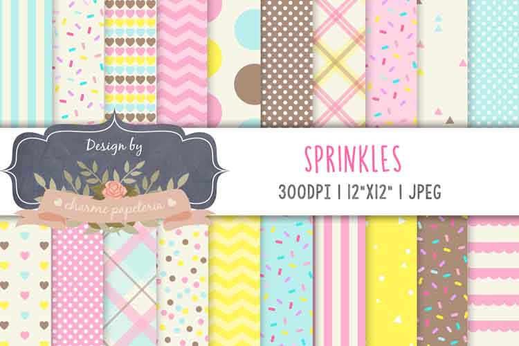 Sprinkles digital paper, Donuts Background, ice cream paper example image 1