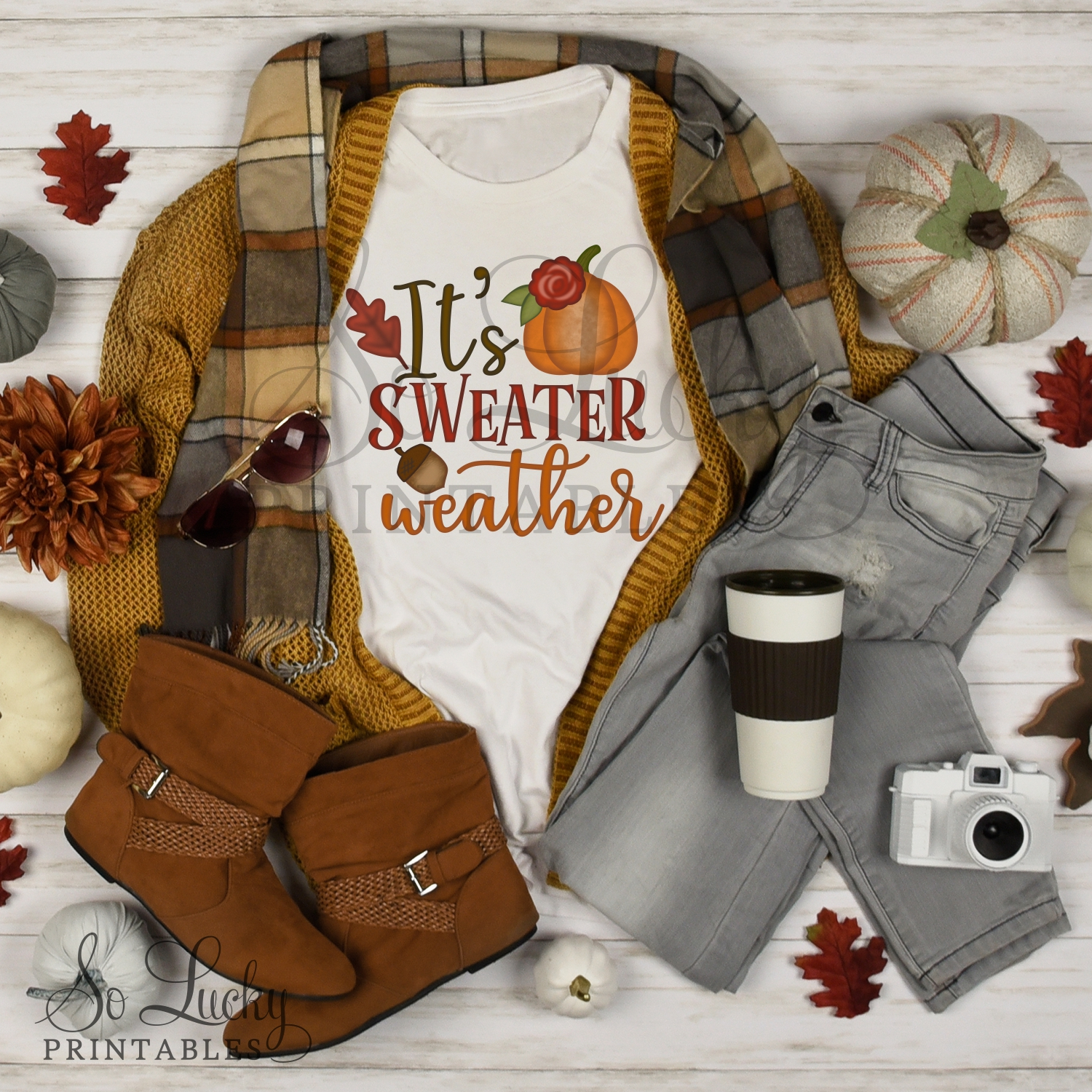 It's sweater weather watercolor printable sublimation design example image 2