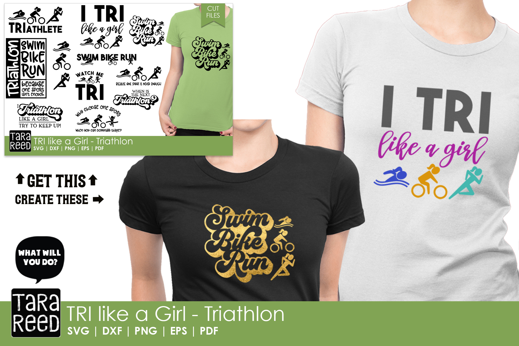 TRI like a Girl - Triathlon SVG and Cut Files for Crafters example image 2