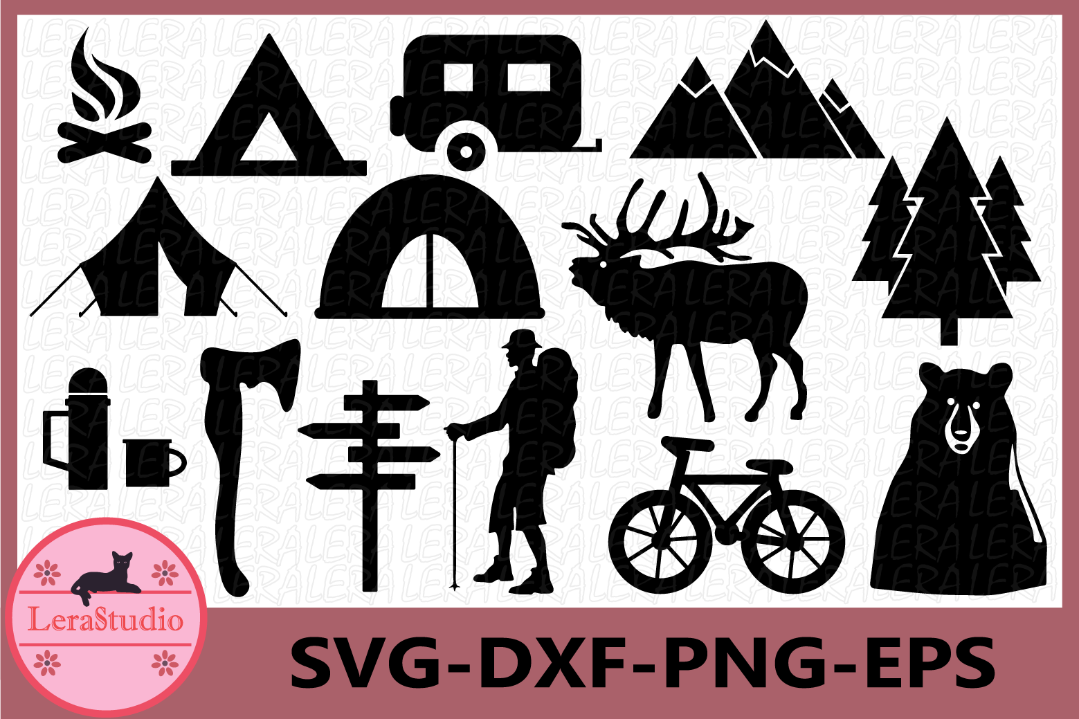 Camping SVG files, Camp svg, Forest Camping Svg, Campfire example image 1