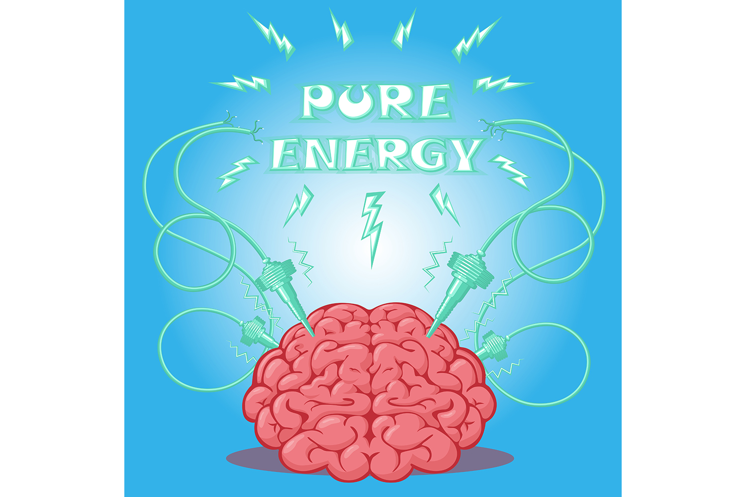 Set of poster: brain with electrodes energized.  Vector illustration. example image 5