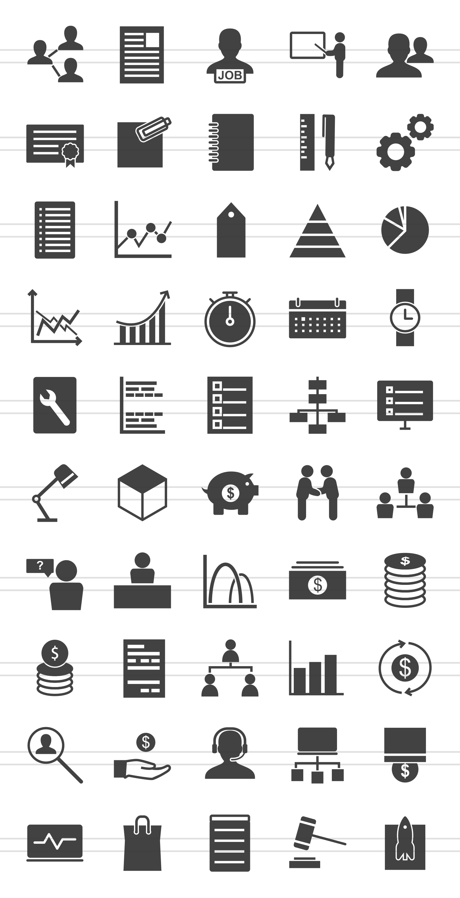 50 Business Management Glyph Icons example image 2