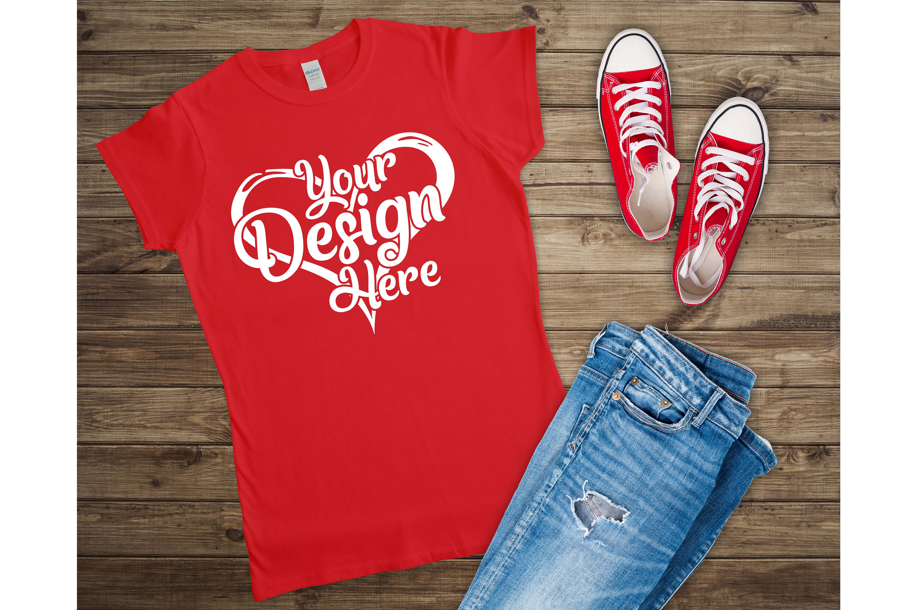 Gildan 64000L Ladies T-Shirt Mockup Bundle Flat Lay example image 9