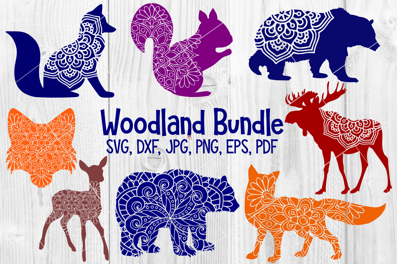 Woodland Animal Mandala Bundle, Fox, Deer, Bear, Moose SVG example image 1