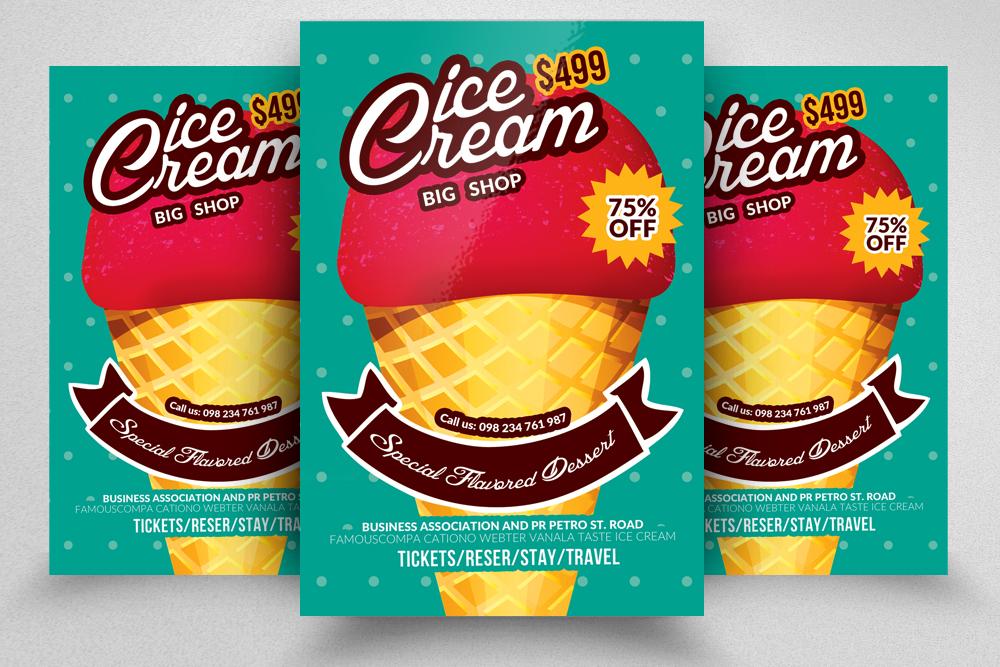 Sweet Dessert Ice Cream Discount Flyer Template example image 1