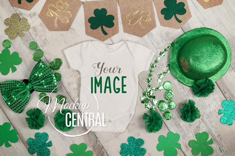 Baby Blank St. Patrick's Onepiece Bodysuit Apparel Mockup example image 1