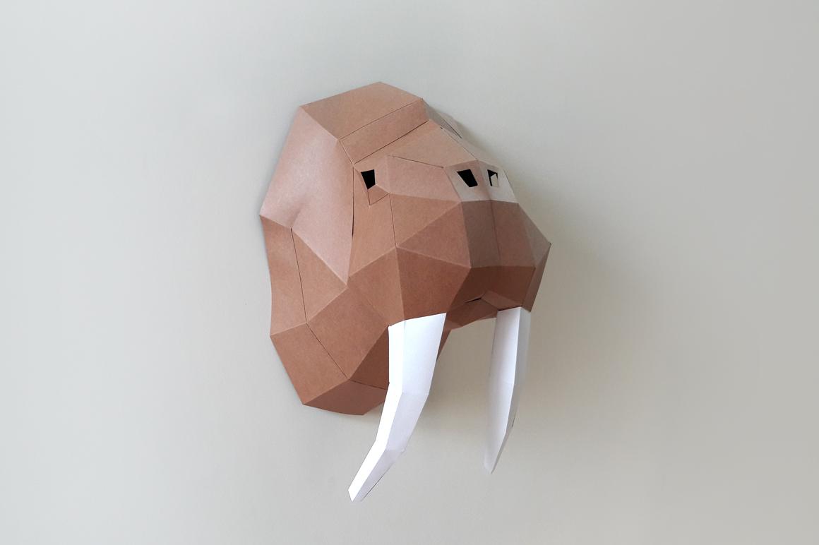 DIY Walrus Trophy - 3d papercraft example image 3