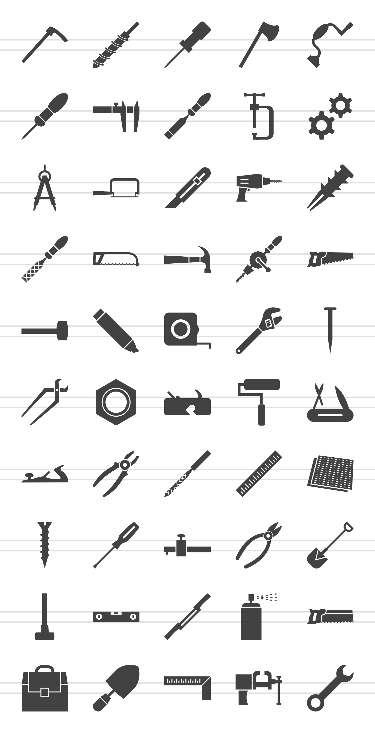 50 Hand Tools Glyph Icons example image 2