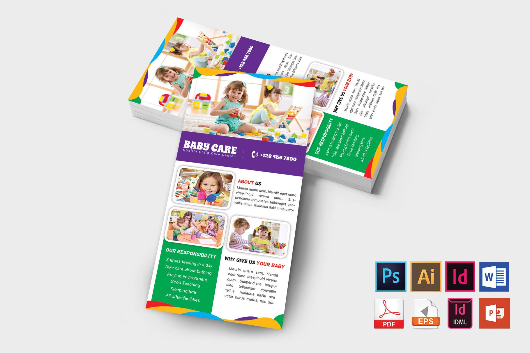 Rack Card | Baby Care DL Flyer Vol-02 example image 2