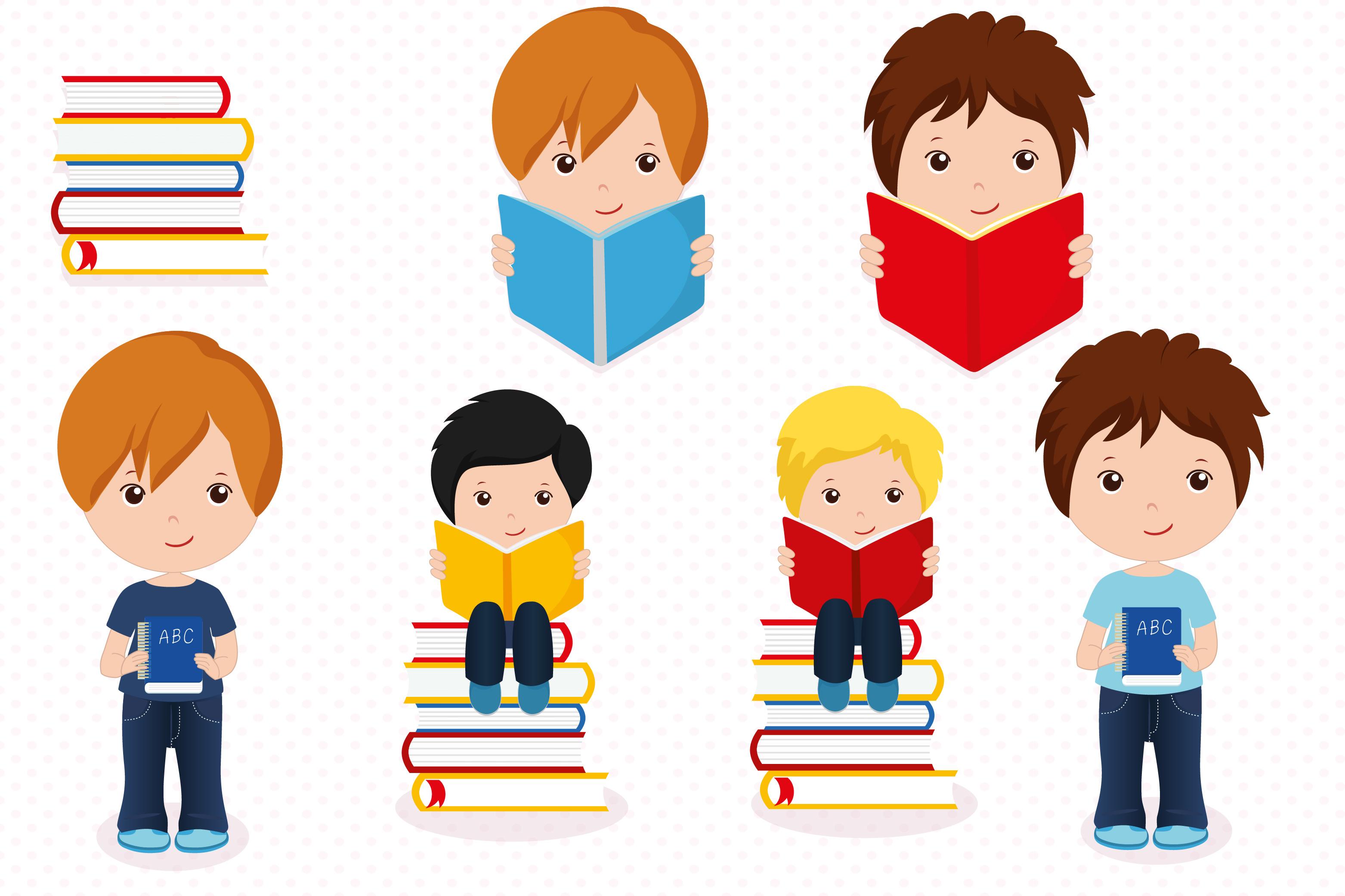 Boys in school graphics, School digital papers example image 2