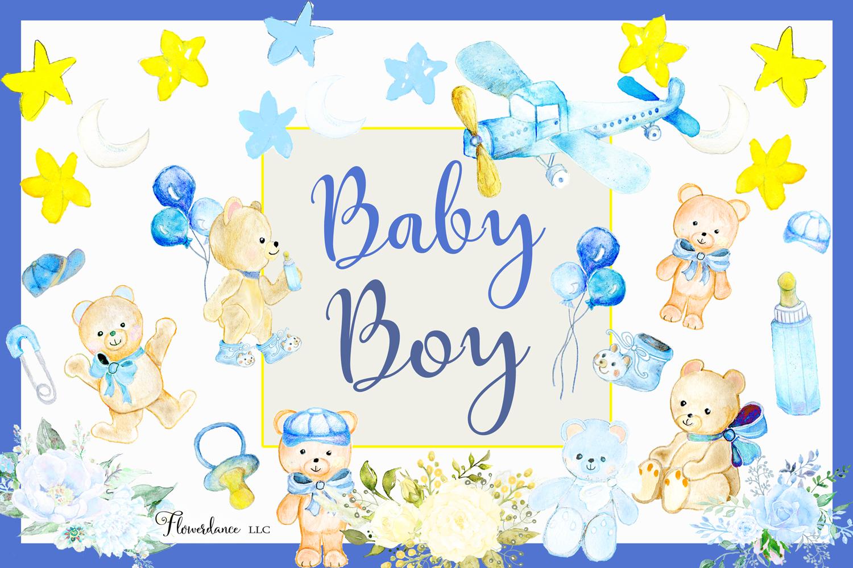 Watercolor Baby Boy Clipart example image 1