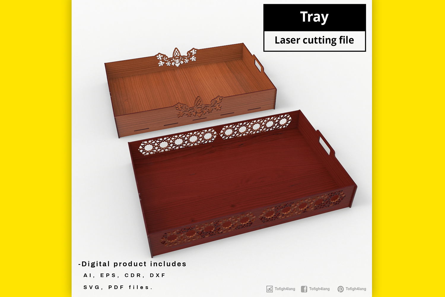 Tray - laser cut file example image 4
