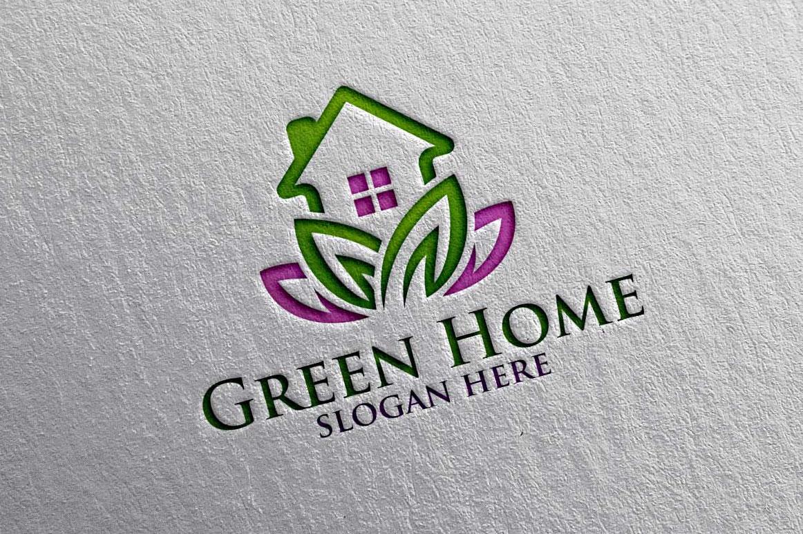 Real estate Logo, Green Home Logo 18 example image 2