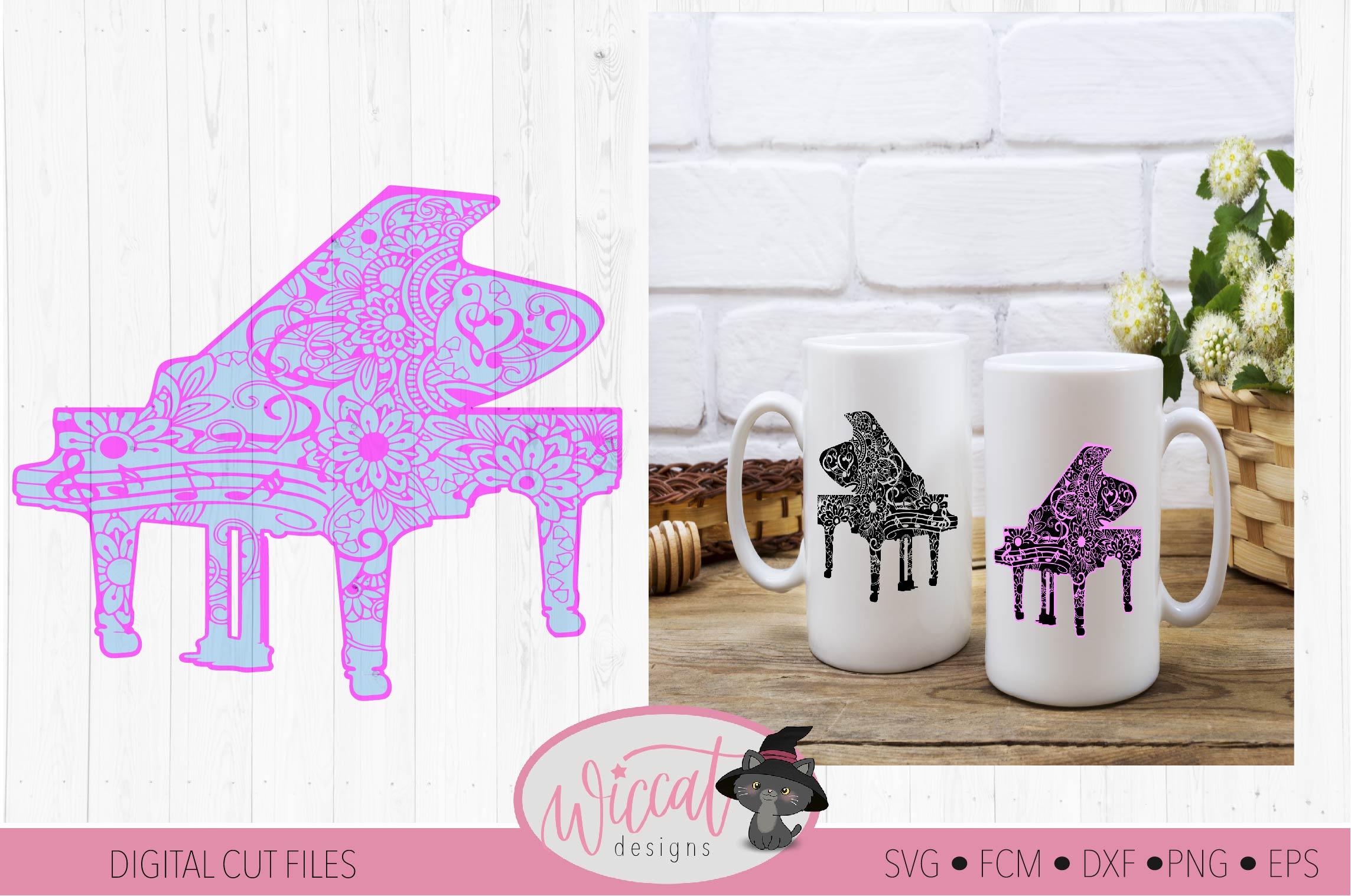 Doodle piano, music instrument, intricate cut file example image 2