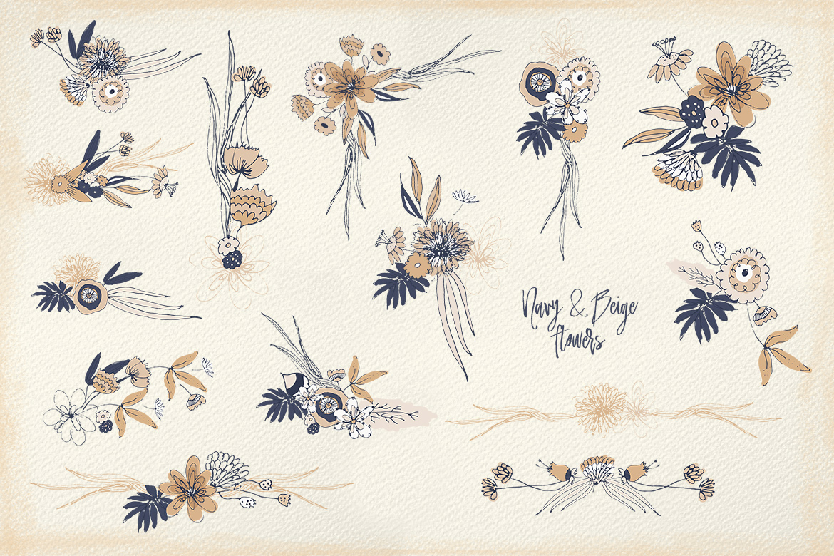 Navy and Beige Flowers example image 6
