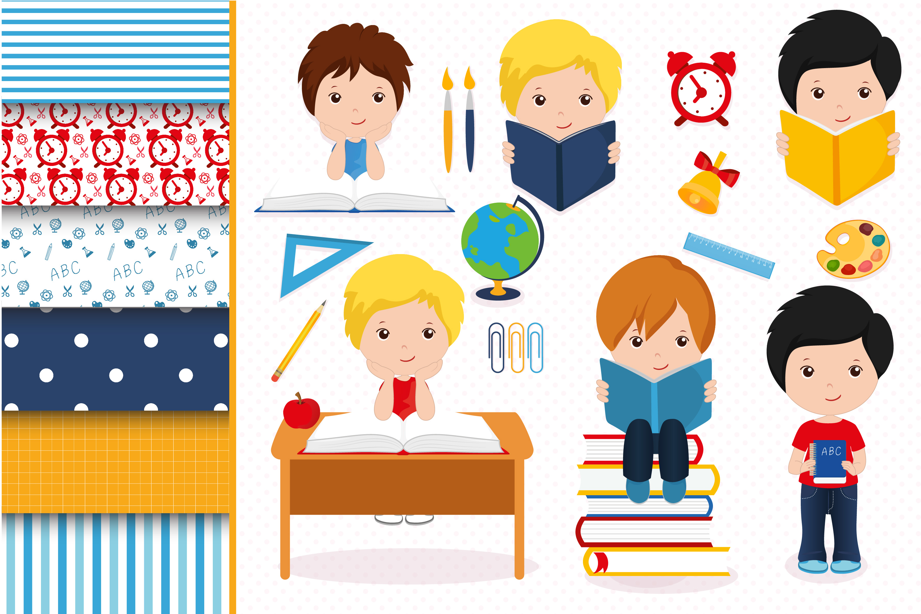 Boys in school graphics, School digital papers example image 1