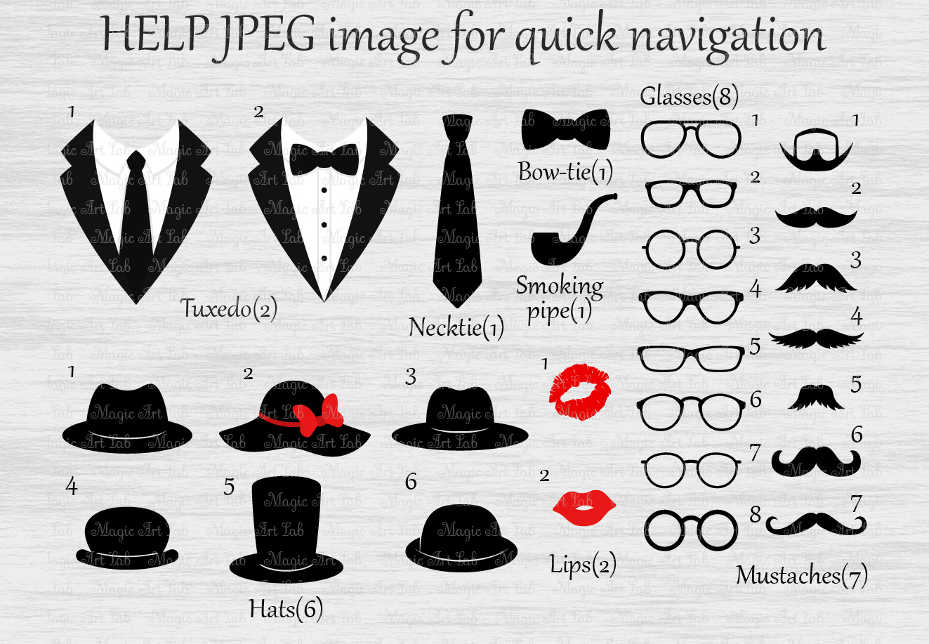 Photo booth props svg, Mustaches svg, Glasses svg, Tuxedo svg, Hats svg, Smoking pipe svg, Retro svg, Lips svg, Tuxedo clipart, Gentleman svg example image 2