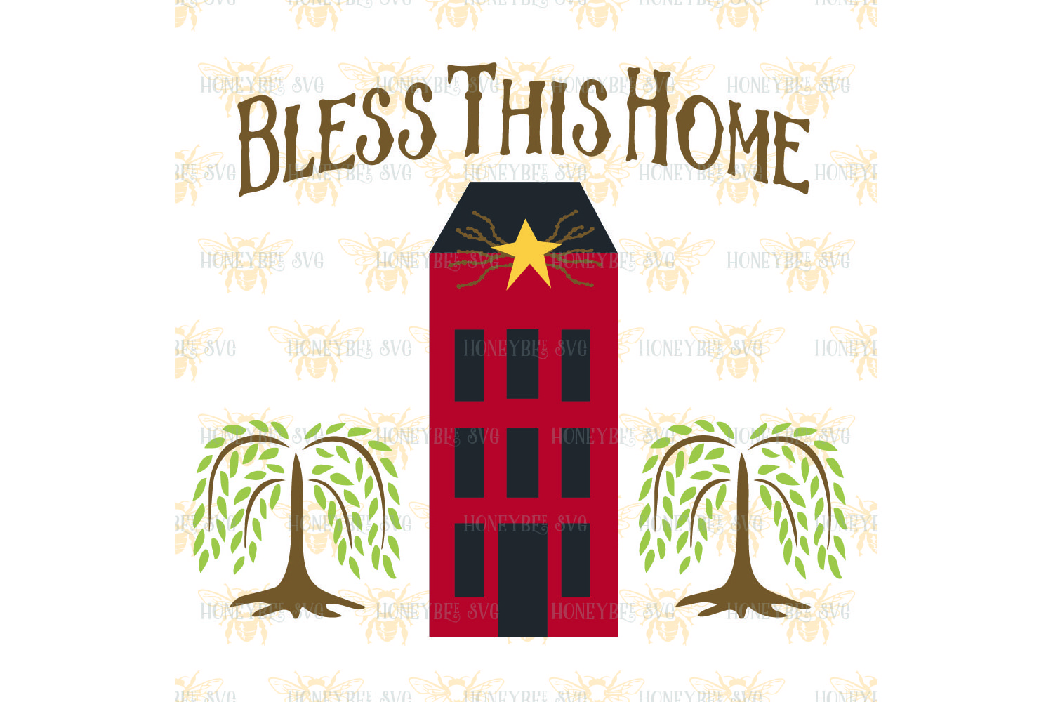 Primitive Bless This Home Saltbox svg example image 2