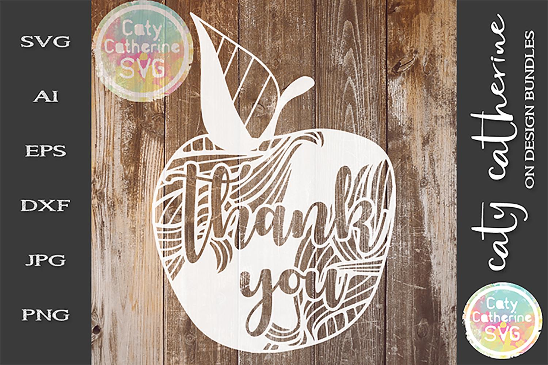 Thank You Teacher Apple, Teacher's Day SVG Cut File example image 1