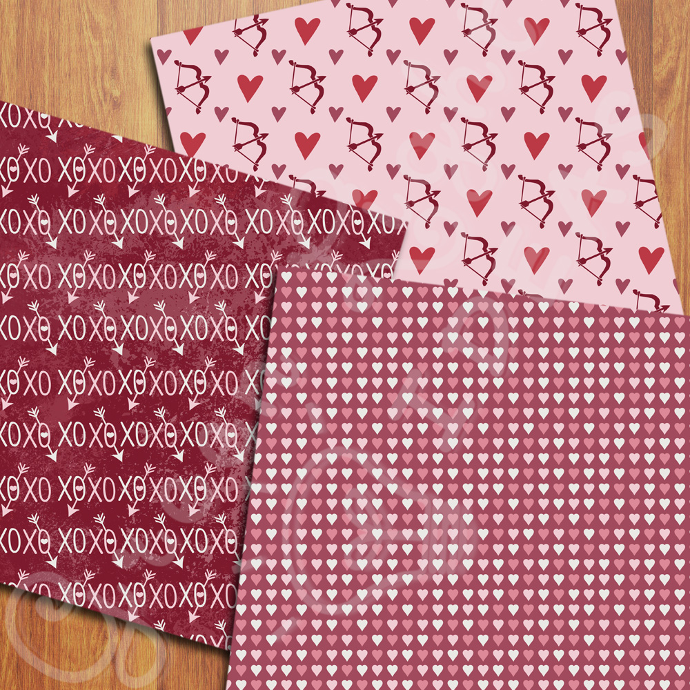Valentines Digital Papers, Valentine's Day Backgrounds, Arrows and Hearts Papers example image 3