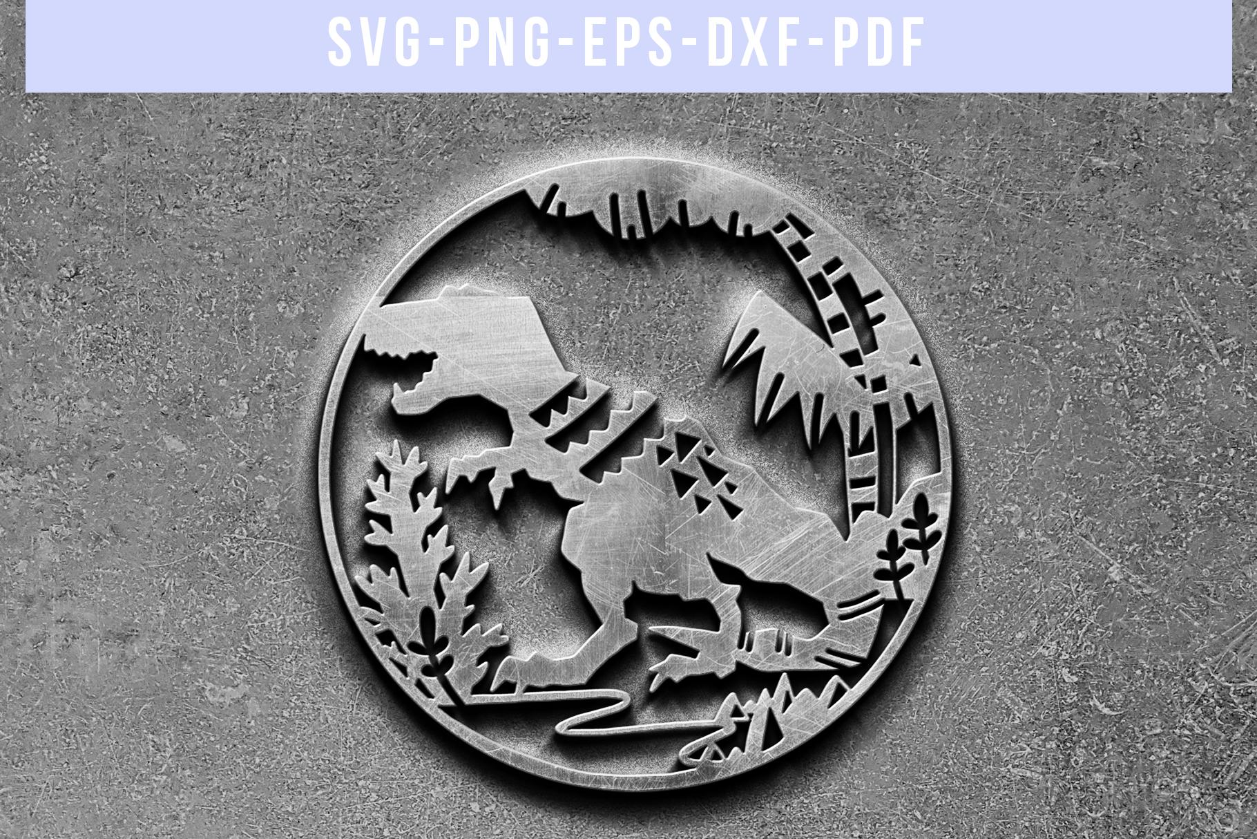 Dinosaur Papercut Template, T-Rex SVG, Baby Cut File DXF PDF example image 5