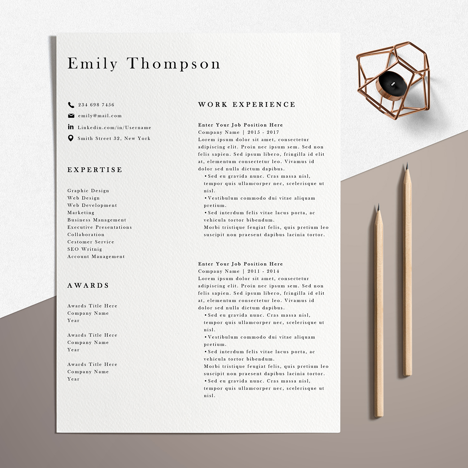 Resume Template | Photoshop CV Template - Emily example image 3