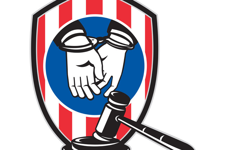 Gavel handcuff hand American stripes shield example image 1