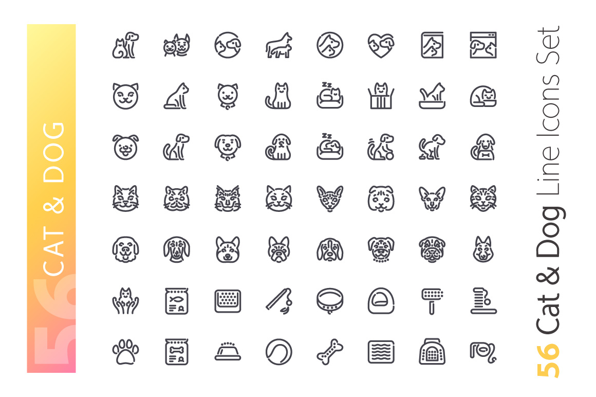 Cat & Dog Line Icons Set example image 2