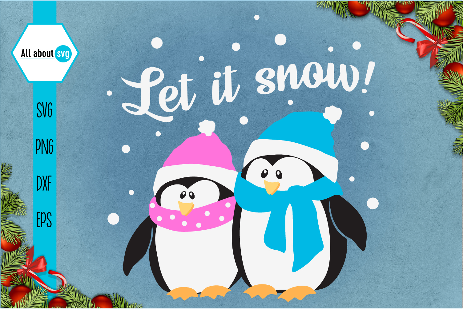 Let It Snow Penguins Svg example image 1