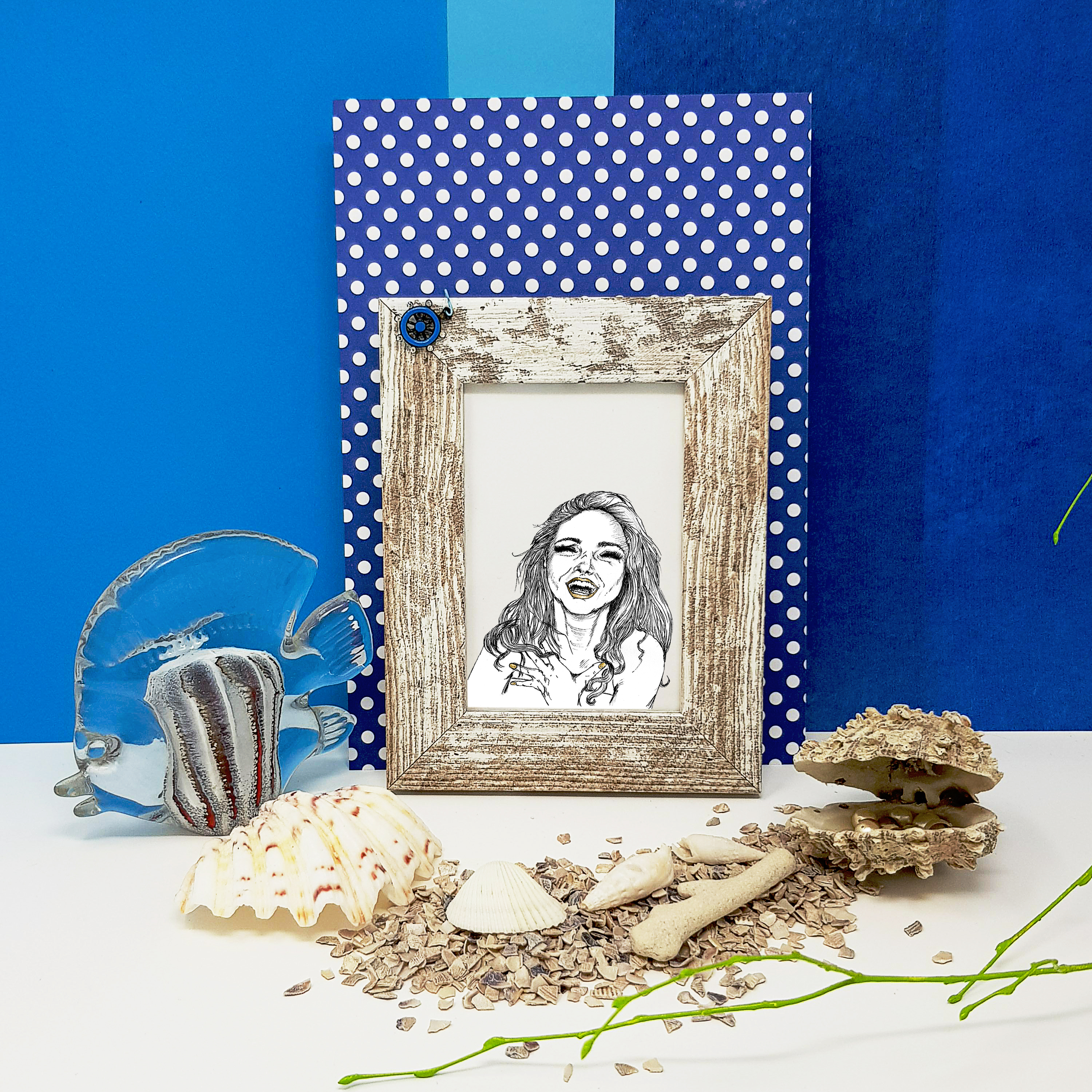 Feminine Beach Frame Mockup with Fish and Shells example image 3