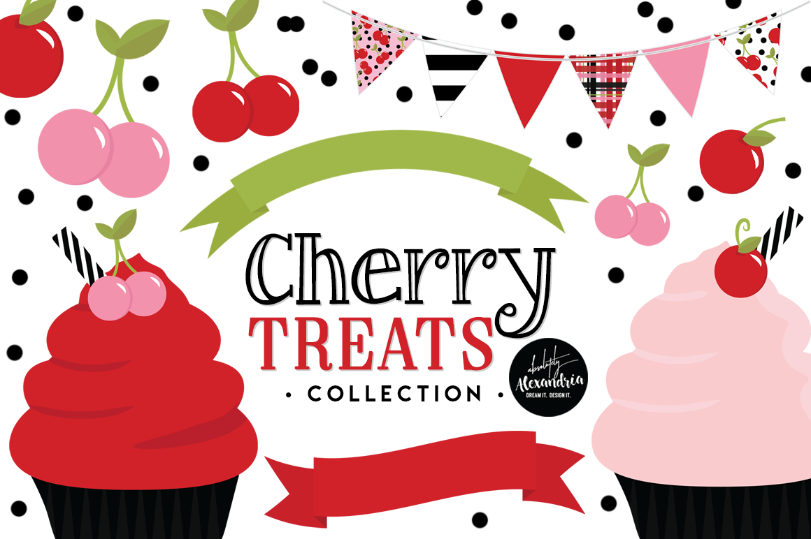 Cherry Treats Clipart Graphics & Digital Paper Patterns Bundle example image 1