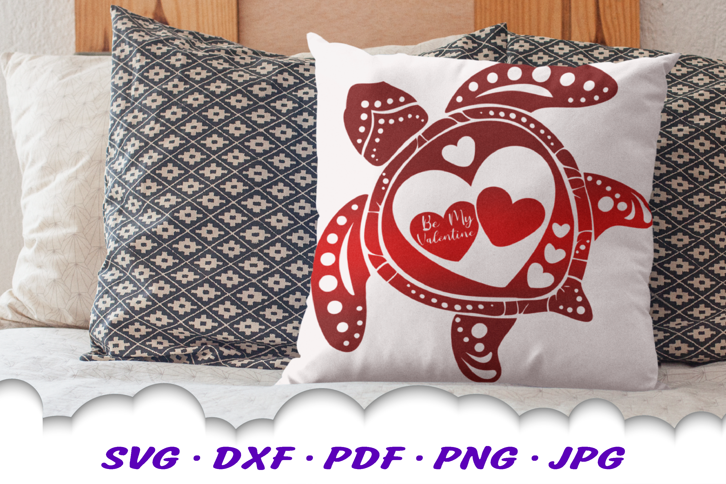 Valentines Sea Turtle Hearts SVG DXF Cut Files example image 1