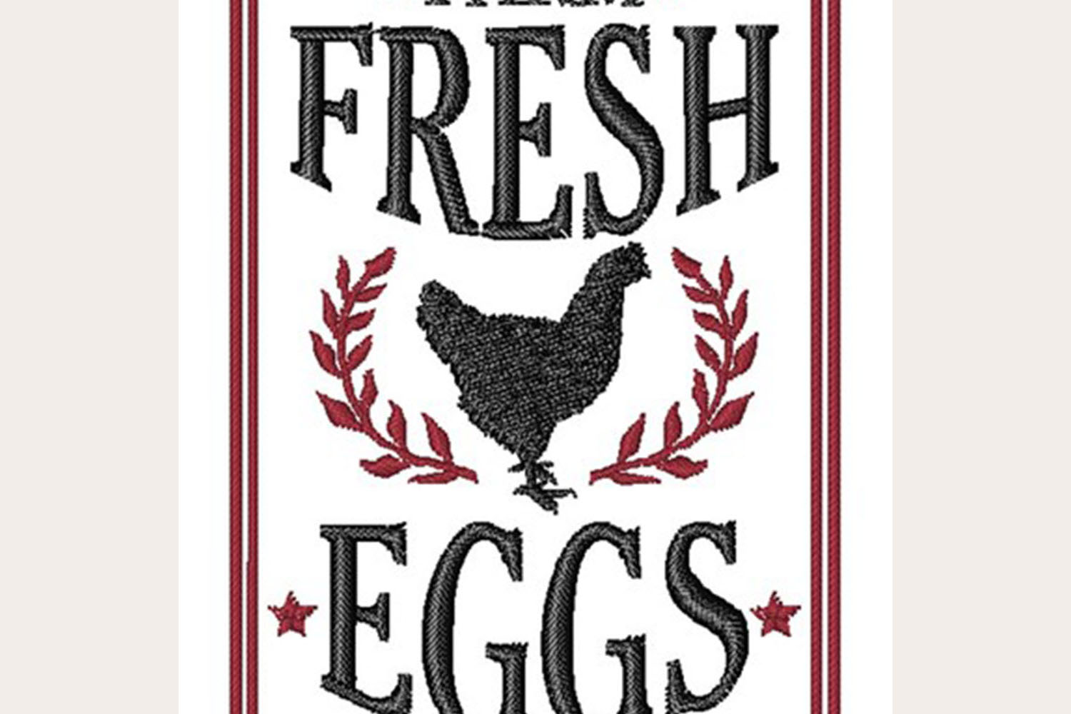 Farm Fresh Eggs - Machine Embroidery Design example image 1
